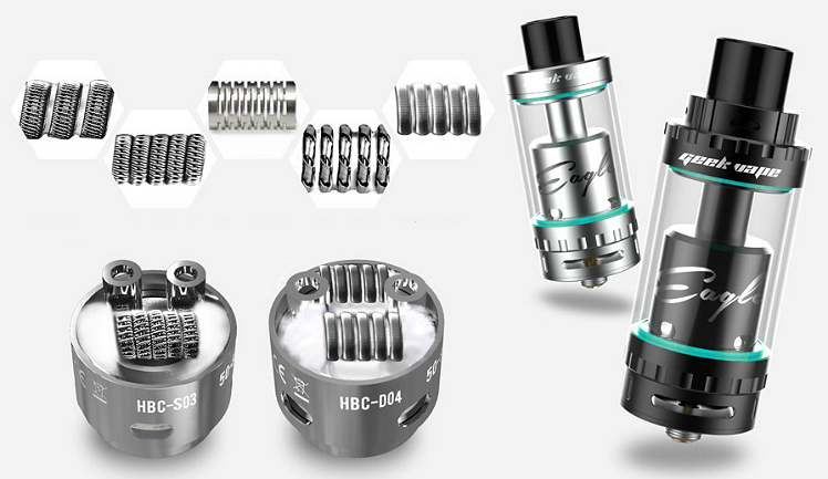 ATOMIZER - GEEK VAPE Eagle 25 RTA with Hand-Built Coils ( Stainless )