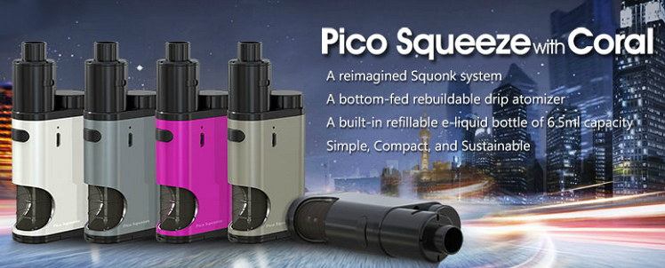 KIT - Eleaf Pico Squeeze Squonk Mod Full Kit ( Silver )