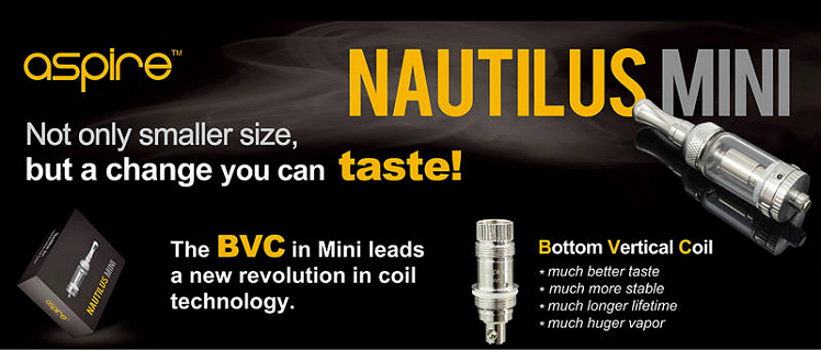ATOMIZER - ASPIRE Nautilus Mini BVC Clearomizer - 2ML Capacity - 100% Authentic