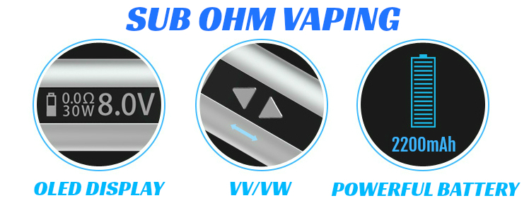 BATTERY - Eleaf iStick 30W - 2200mA VV/VW Sub Ohm ( Stainless )