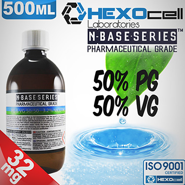 D.I.Y. - 500ml HEXOcell eLiquid Base (50% PG, 50% VG, 32mg/ml Nicotine)
