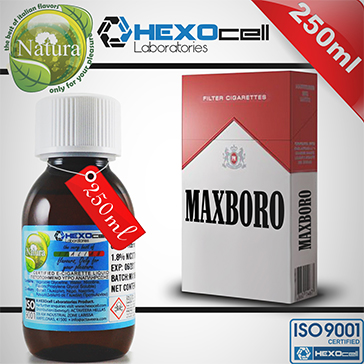 250ml MAXBORO 18mg eLiquid (With Nicotine, Strong) - Natura eLiquid by HEXOcell
