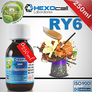 250ml RY6 9mg eLiquid (With Nicotine, Medium) - Natura eLiquid by HEXOcell