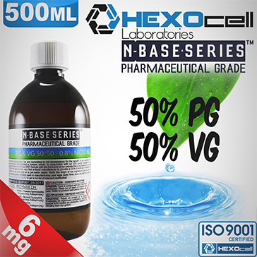 D.I.Y. - 500ml HEXOcell eLiquid Base (50% PG, 50% VG, 6mg/ml Nicotine)
