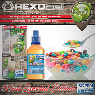 60ml CEREAL BLAST SPECIAL EDITION 3mg High VG eLiquid (With Nicotine, Very Low) - Natura eLiquid by HEXOcell