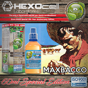 60ml MAXBACCO SPECIAL EDITION 9mg High VG eLiquid (With Nicotine, Medium) - Natura eLiquid by HEXOcell