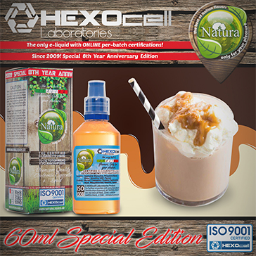 60ml MILK & CARAMEL SPECIAL EDITION 9mg High VG eLiquid (With Nicotine, Medium) - Natura eLiquid by HEXOcell