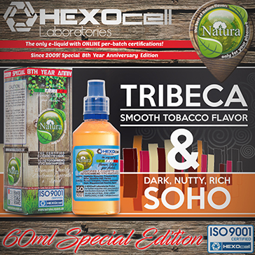 60ml TRIBECA & SOHO SPECIAL EDITION 3mg High VG eLiquid (With Nicotine, Very Low) - Natura eLiquid by HEXOcell